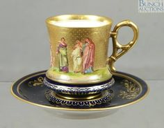 "Vienna porcelain cabinet cup and saucer, cobalt ground with beaded gilt body with HP court scene, base marked ""Konig . China Cups And Saucers, China Tea Cups, Teapots And Cups, Teacups, Tea Cup Set, My Cup Of Tea, Tea Cup Saucer, Tea Sets Vintage, Vintage Cups"