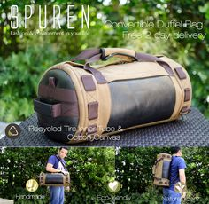#Free 2 day delivery. New George #convertible #duffel bag #handmade from #recycled tire inner tube and cotton #canvas.    https://spurenhandbags.com/product/ethical-handmade-accessories-eco-animal-friendly-vegan-rugged-george-duffel-bag/