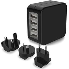 Travel Adapter, MoMoCity International Worldwide Travel Adapter 4-Port USB Wall Charger Power Adapter Travel Plug with US UK EU AU Plugs for iPhone iPad Samsung Smartphone Camera (Black) >>> You can find more details by visiting the image link. (This is an affiliate link) #Accessories