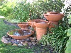 Destin house with 5 bedrooms Garden Art, Garden Ideas, Garden Water, Water Features In The Garden, Cape Town, Cottages, Garden Landscaping, Whimsical, Planter Pots