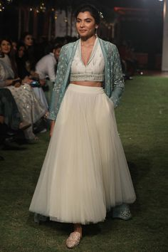 ANITA DONGRE Sage Green Embroidered Crop Top with Jacket and Skirt Set. Shop Now! #anitadogre #sagegreen #embroidered #jacket #croptop #skirt #brocade #chanderi #lfw18 #straightfromrunway #indianfashion #indiandesigners #perniaspopupshop #happy-shopping