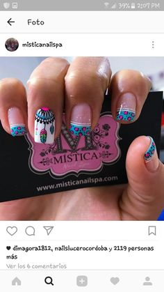 ATRAPASUEÑO Love Nails, Pretty Nails, Fun Nails, Blue Nail Designs, Nail Polish Designs, Indian Nails, Country Nails, Feather Nails, Bright Nails