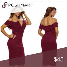 🆕Burgundy off the shoulder dress off-the-shoulder neckline with V cut, padded bust and flattering midi silhouette in a curve-hugging fit, back slit for convenient wear. NWOT🔺M(8-10)  95% polyester 5% Spandex. Dresses Midi