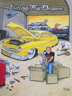 George Trosley and CARtoon Magizine Car Drawings, Cartoon Drawings, Cartoon Art, Cartoons Magazine, Cool Vans, Truck Art, Garage Art, Ad Art, Cycling Art