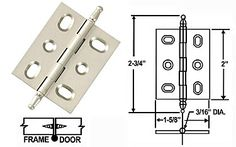Kitchen hinges: Cliffside - Adjustable Solid Brass Flush/Full Inset Non-Self Closing Hinge - EACH (Satin Silver) - The Hardware Hut