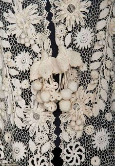 IRISH CROCHET EDWARDIAN COAT Lace worked in tight, elaborate floral blossom…