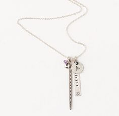"""Rivet Tag Charm Necklace - all personalizable  $40 - $125.30"""" silver chain not included,  RHteen"""