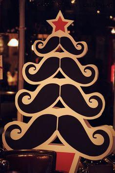 Hannah Exall's Murdock London window display, Christmas 2011 #Moustache #Christmas #Christmastree