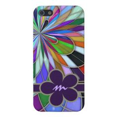 Abstract Stained Glass | Monogrammed Colorful Abstract Stained Glass Flower Cover For iPhone 5 ...