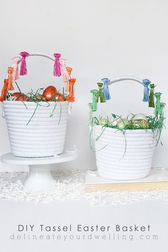 How to create a simple and fun DIY Tassel Easter Basket.