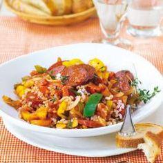 Paprika-Reis-Pfanne mit herzhafter Cabanossi DasKochrezept.de