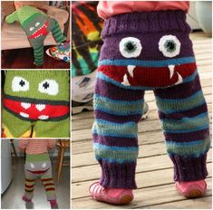 Knitted Monster Pants.  Too darn cute.  I'll have to learn to knit