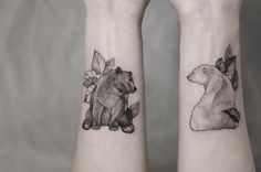 cute bear tattoos by @mirmandainks #thewildtattoo