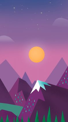 Starry night. Tap for landscape in material design iPhone wallpapers, backgrounds, fondos. @mobile9