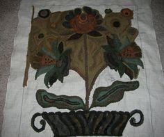 Hooked by Patty Hoffmeyer. Fraktur II pattern by Janice Johnson of Wooley Woolens.