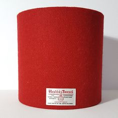 Harris Tweed Lampshade in a plain red twill. A bright shade of red available in various shapes and sizes. Gin Bottles, Harris Tweed, Color Pop, Colour, Shades Of Red, Lampshades, Orange, Yellow, Create Yourself