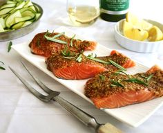 Inspired Edibles: Rosemary Honey Dijon Glazed Salmon ~ an easy, breezy, summer delight Dijon Salmon, Honey Salmon, Glazed Salmon, Salmon Glaze, Cooking Salmon Fillet, Trout Recipes, Cooking Sheet, How To Cook Fish, Fish Dishes