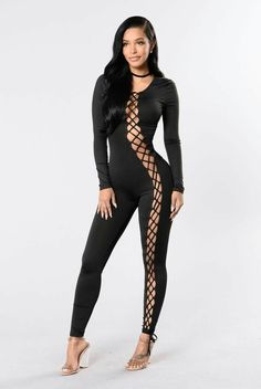 - Available in Black - Long Sleeve Jumpsuit - Stretch Denim Jumpsuit - Full Body Lace Up Detail - Back Zipper Closure - Polyester, Spandex pinned by 😚❣💋 Sexy Outfits, Sexy Dresses, Cute Outfits, Black Jumpsuit, Denim Jumpsuit, Casual Elegance, Beautiful Black Women, Mannequins, Sensual