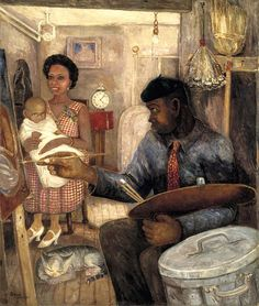 Harlem Renaissance ~ Palmer Hayden ~ The Janitor Who Paints ~ ca. 1930 ~ Olieverf op doek ~ x cm. ~ Smithsonian American Art Museum, Washington D. African American Artwork, African Art, American Artists, American Realism, Harlem Renaissance Artists, Renaissance Kunst, Black History, Art History, Visual Thinking Strategies