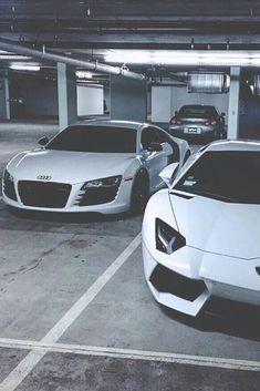 White Audi R8 & Lambo Aventador