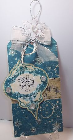 Blue Christmas Ornament Tag...Mary Jo at 'Prairie Paper Crafter' blog using JRS products.