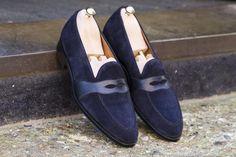 New Handmade Suede Leather loafer Slip Ons moccasins shoes, Men Navy Blue shoes Blue Suede Loafers, Penny Loafers, Leather Loafers, Loafer Shoes, Loafers Men, Men's Shoes, Dress Shoes, Suede Leather, Shoes Men