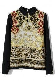 Baroque Chiffon Shirt in Black