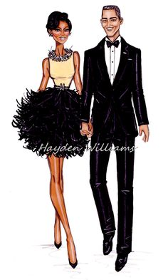 #Hayden Williams Fashion Illustrations: #The President & First Lady: The Obamas by Hayden Williams