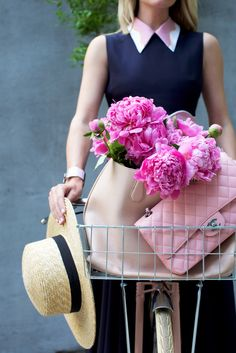 // Atlantic-Pacific Summer Style with a pink bike Blair Eadie Click through for full outfit details!