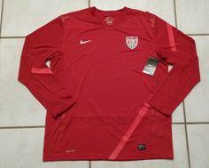 NWT NIKE USA National Team RED  Long Sleeve Soccer Training Jersey Men's XL  #Nike #USA