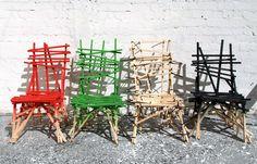 raw wood plank chairs