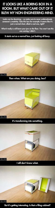 It looks like a boring box in a room. But what came out of it blew my non-engineering mind. Looks can be deceiving, so make sure to never underestimate someone's creativity. Take this box, for example. It seems like it's just a normal chest, albeit a cool one, right? What it really is will leave your jaw on the floor. You won't see this one coming. I didn't.