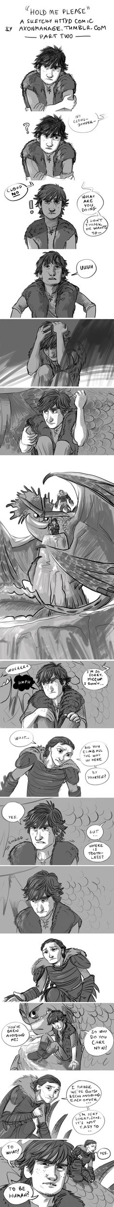 Hold Me Please - a sketch-y HTTYD comic, part two by axondrive on deviantART