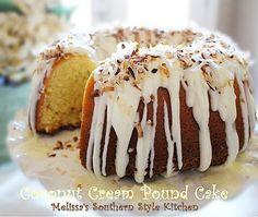Coconut Cream Pound Cake With A Vanilla Cream Glaze Pound Cake Icing, Cake By The Pound, Sour Cream Pound Cake, Best Coconut Cake Recipe, Coconut Recipes, Cream Recipes, Bunt Cakes, Tea Cakes, Cupcake Cakes