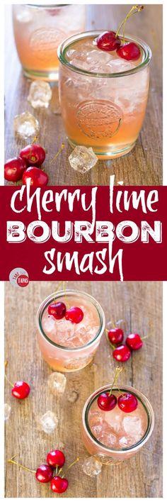 Cherry Lime Bourbon Smash – 3 Ingredient Cocktail Series Cherry Lime Bourbon Smash Summer Cocktails Take two tapas Bourbon Recipes, Bourbon Cocktails, Whiskey Drinks, Fun Cocktails, Bar Drinks, Summer Drinks, Cocktail Drinks, Cocktail Recipes, Beverages