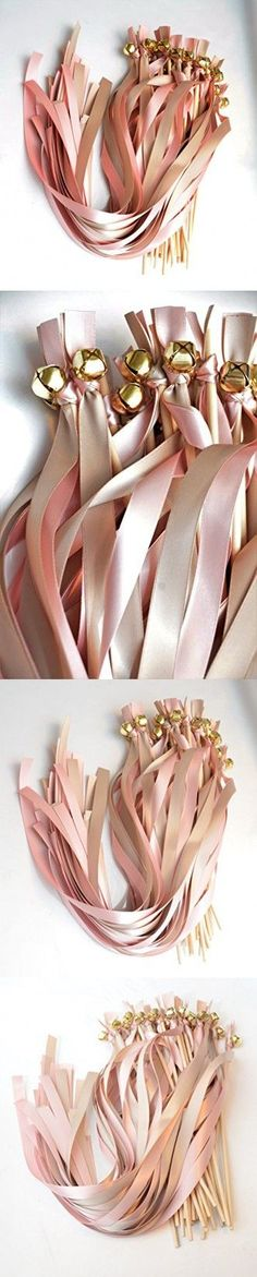 25 Ribbon Bell Wands ~ Pink Blush & Taupe (Biscotti) Gold Bells ~ Wedding Ribbon Bell Wands ~ Divinity Braid ~ Send Off Bells