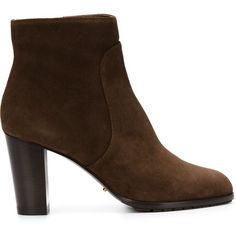 Sergio Rossi Block Heel Ankle Boots ($750) ❤ liked on Polyvore featuring shoes, boots, ankle booties, brown, brown boots, ankle boots, block heel bootie, short boots and bootie boots