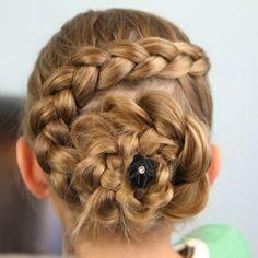 Dutch braid hairstyle.