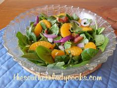BACON AND MANDARIN ORANGE SPINACH SALAD - with a special salad dressing! (I like to add walnuts to my spinach & mandarin orange salad.)