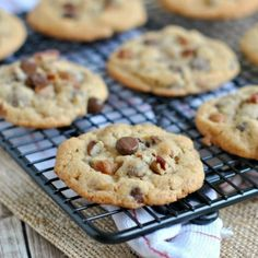 Chocolate Chip cookies with caramel bits and pecans. Chewy and perfect!