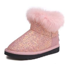 0410772bfdef US 27.60 - Girls Bling Vamp Plush Decor Warm Lining Shining Snow Boots For  Kids Snow