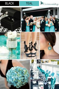 Grey suits for the guys with teal ties/bowtie for shaun, teal dresses with green bouquets, teal and green bouquet for me REMEMBER THIS FUTURE JESSICA
