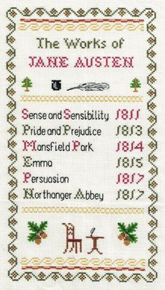 The Works of Jane Austen Sampler Counted di PhoenixNeedlecraft