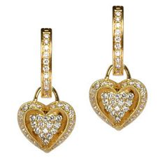 18K Yellow Gold dangle hearts post earrings 0.70 inch