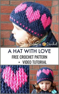 A Hat With Love – Free Crochet Pattern: Written Instruction, Graph & Video Tutorial This cute crochet hat with hearts going around is worked top down, in rounds, using post stitches that create a. Graph Crochet, Bonnet Crochet, Crochet Beanie Pattern, Cute Crochet, Crochet For Kids, Crochet Stitches, Crochet Patterns, Easy Crochet Baby Hat, Crochet Top