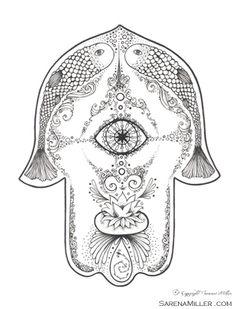 Sarena Miller's Lotus Hamsa Pen and Ink ::