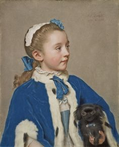"Jean-Etienne Liotard, ""Portrait of Maria Frederike van Reede-Athlone at Seven Years of Age,"" 1755-1756. Liotard's extraordinary handling in the difficult medium of pastel allowed him to capture the feeling of soft velvet and lush fur in Maria Frederike's cape."