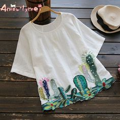 Linen Cactus Embroidery Short Sleeve Shirt