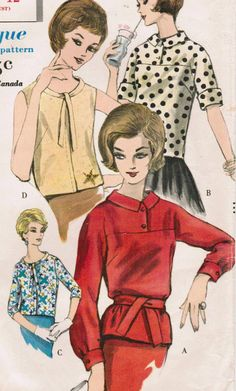 1960s Vogue 5339 UNCUT Vintage Sewing Pattern Misses' Blouses Size 12 Bust 32