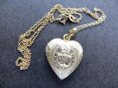 US Navy Heart Locket Gold Filled Sterling by VintageVogueTreasure